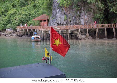 Vietnamese Flag on Boat