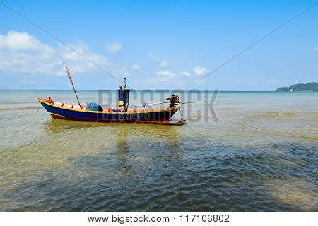Colourful Sea Fishing Boat Moored Near Tropical Beach Thailand Asia