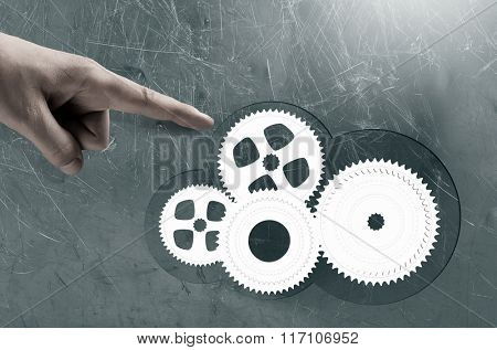 Gears mechanism. Concept image