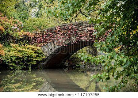 Central Park Gapstow Bridge In Full Autumn Colors