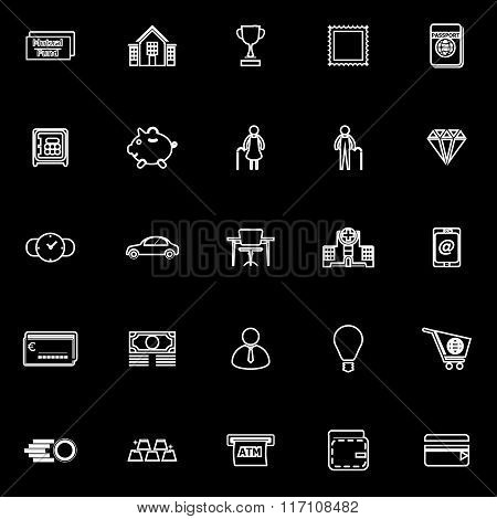 Personal Financial Line Icons On Black Background