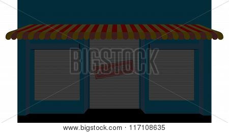 Shop Closed. Storefront With A Sign Is Closed. Facade Of A Store. A Closed Storefront. Shutters On