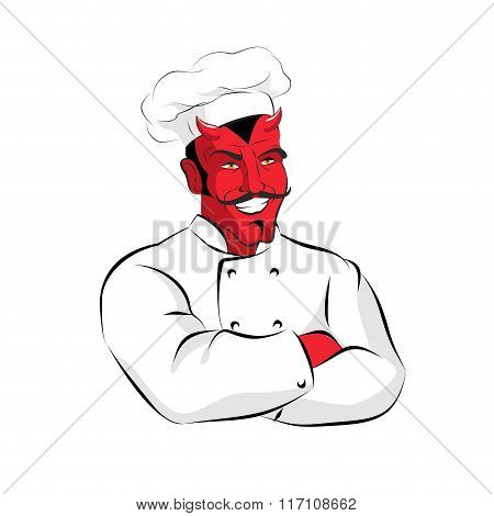 Hell Of  Cook. Devils Kitchen. Satan In Chef Cook. Chef Demon With Horns. Red Beelzebub Cooking In
