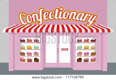 Confectionary. Storefront With Cakes. Pieces Of Cake On A Plate. Sweet Dessert Sold In Store Window.