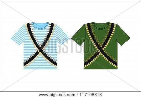 T-shirts With Print Cartridge Belt. Clothing For Festival On February 23. Holiday In Russia. Defende