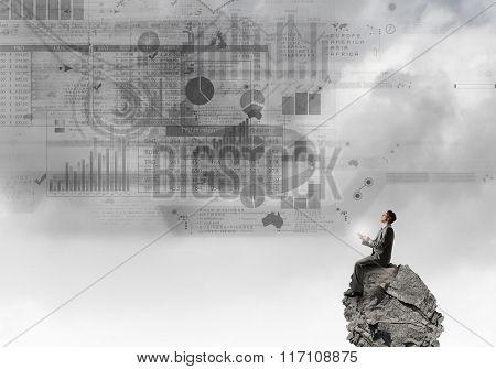 Man using his smartphone application