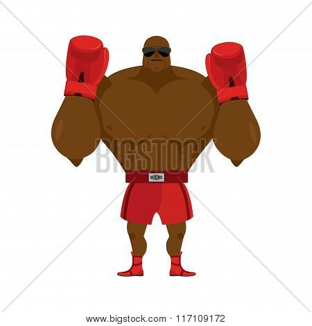African American Boxer. Fighting Stand. Strong Champion Raised His Hands Up. Red Boxing Glove. Clean