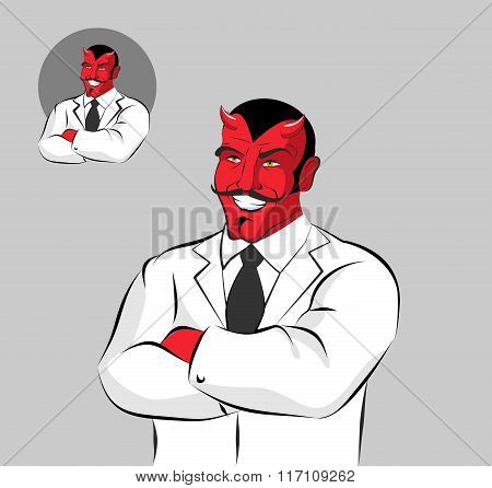 Devil Doctor. Satan With Horns In Doctors White Coat. Horrible Red Monster With Moustache Laughs. He