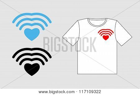 Wi Fi Love. Template To Design T-shirts For Valentines Day. Clothing For Lovers. Wifi Wireless Commu