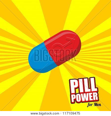 Power Pill For Men. Color Tablet For Potency. Impotence Treatment Drugs. Red Pill With Male.