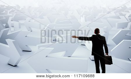 Businessman choosing his business direction
