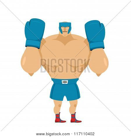 Strong Boxer In Protective Helmet. Athlete In Rack Before Fight. Boxing Gloves And Helmet. Athlete W