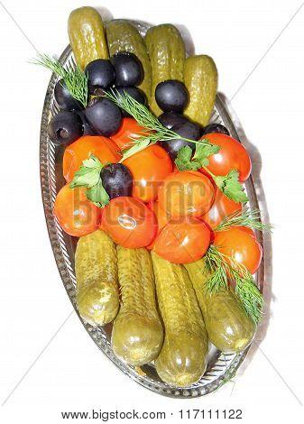 pickled vegetables on white background