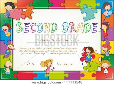 Certificate template for second grade students illustration