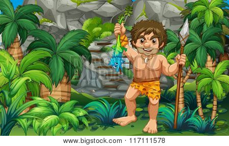 Caveman catching lizard in the forest illustration