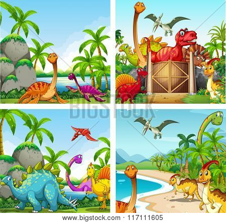 Four scenes of dinosaurs in the park illustration