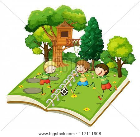 Boys playing soccer in the park illustration