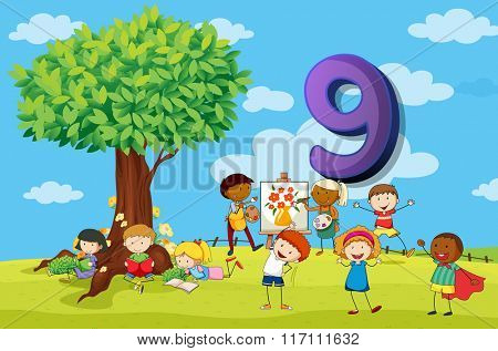 Flashcard number 9 with nine children in the park illustration