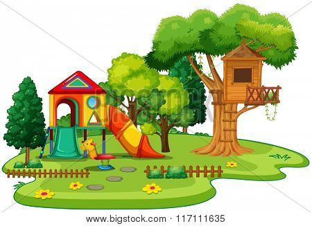 Playhouse and treehouse in the park illustration
