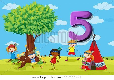Flashcard number 5 with five children in the park illustration