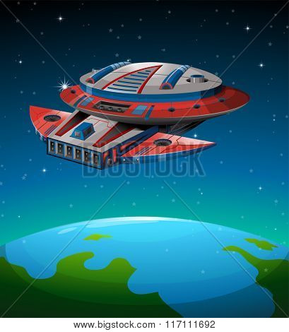 Spaceship flying over the world illustration