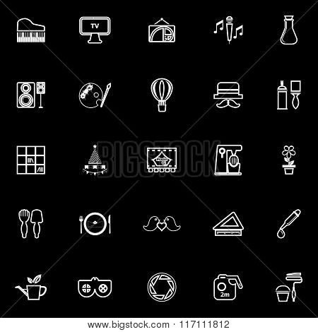 Art Activity Line Icons On Black Background