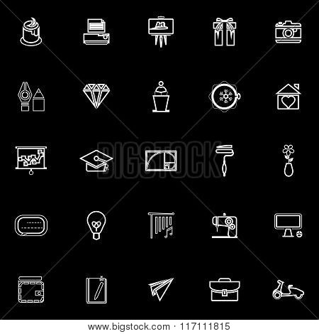 Art And Creation Line Icons On Black Background