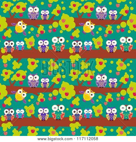 seamless pattern set bright colorful owls on the branch of a tree with red apples on dark green back