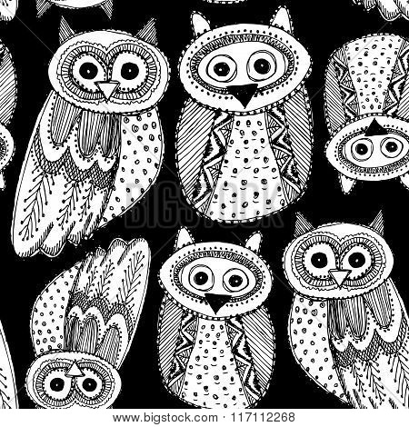Decorative Hand dravn Cute Owl Sketch Doodle white bird on a black background seamless pattern. Vect