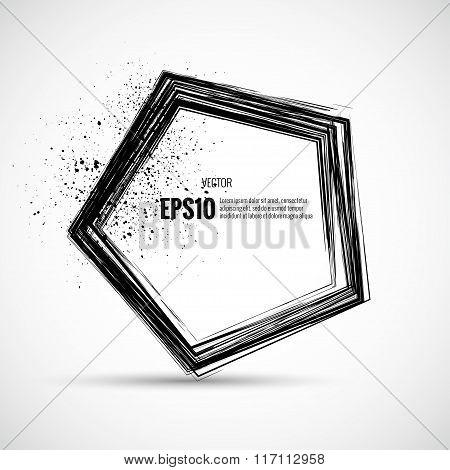 Abstract grunge ink splatter background pentagon
