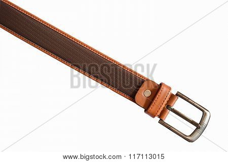 Leather Belt On White Background with clipping Path