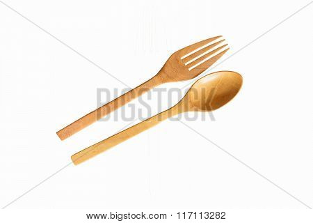 Wooden spoon and fork with Clipping path