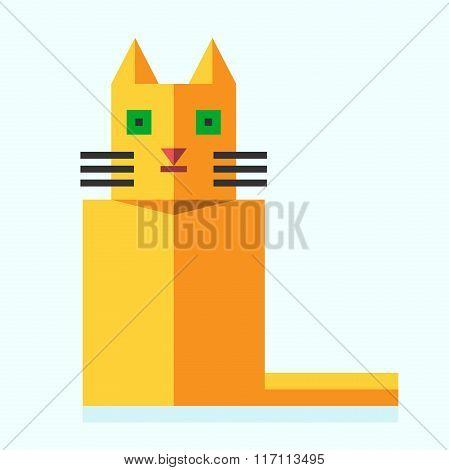 Cute Bright Flat Cat