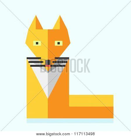 Cute Bright Flat Fox