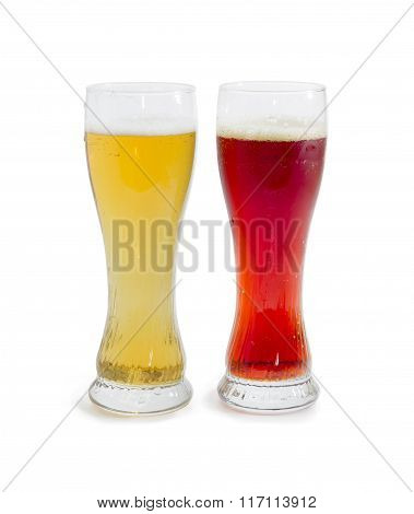 Two Beer Glass With Lager Beer And Dark Beer