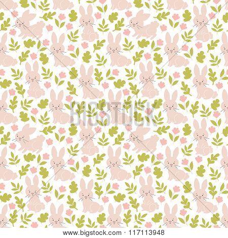 Bunny seamless vector pattern