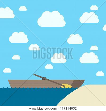 Wooden Boat Near Coast