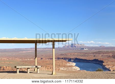 Picnic Site With Powell Lake View, Utah, Usa.