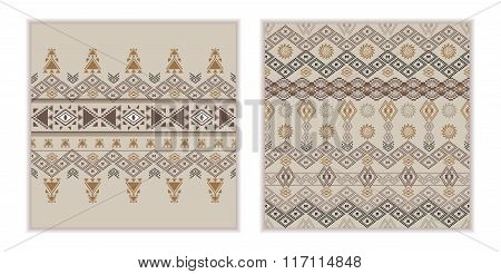 Vector Set Of Two Seamless Patterns. Ethnic Tribal Geometric Texture