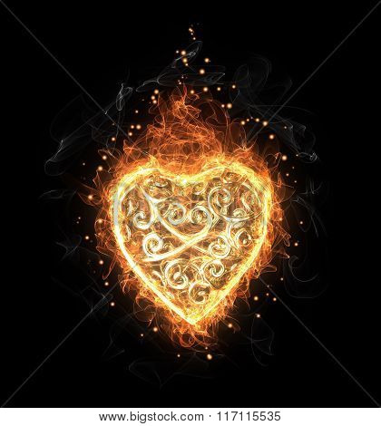 Golden fire openwork heart