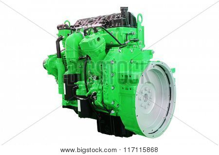 The image of an engine under the white background
