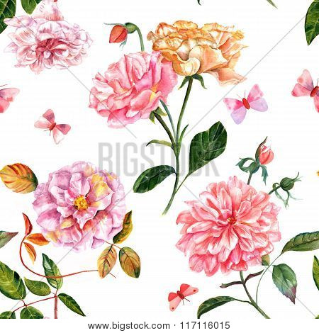 Vintage Seamless Background Of Watercolor Roses And Peonies, With Butterflies