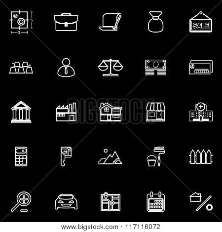 Mortgage And Home Loan Line Icons On Black Background