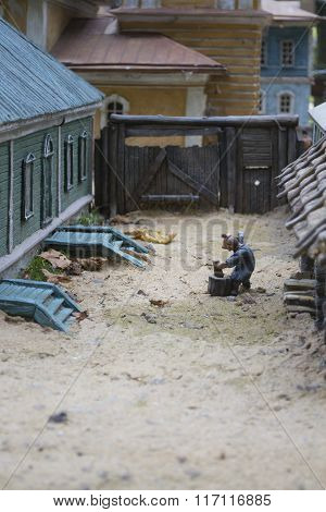 Scene Of Rural Life: A Man Chopping Wood