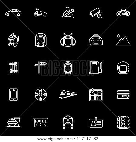 Land Transport Related Line Icons On Black Background