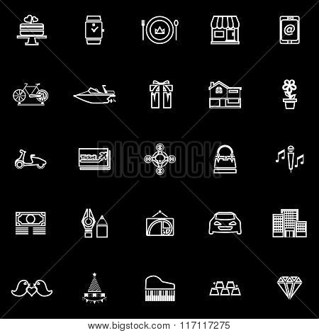 Birthday Gift Line Icons On Black Background