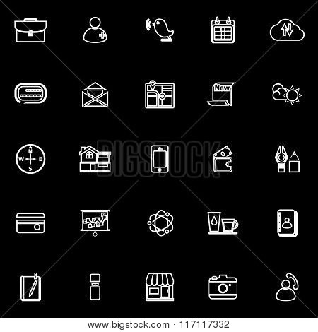 Mobile Line Icons On Black Background