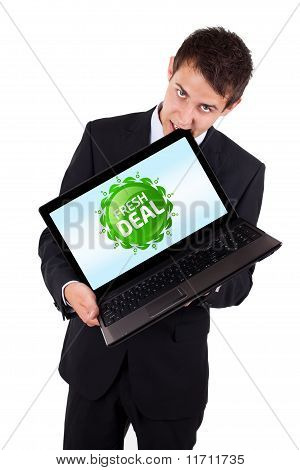 Business Man Pointing At A Colorful Sale Label 6