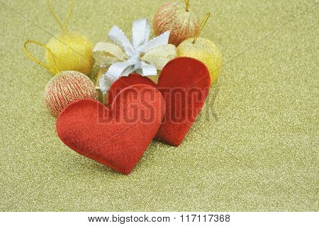 Fabric Red Love Heart Shape With Gift Box On Gold Background, Love Concept