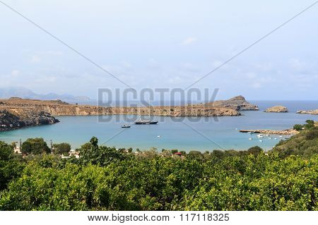 A bay in Lindos in Rhodes Greece
